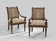 Pair of Whimsical Mahogany-Stained Armchairs