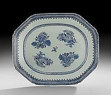 Chinese Export Blue and White Fitzhugh Platter