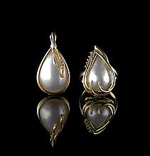 14 Kt., Diamond and Mabe Pearl Ring and Pendant