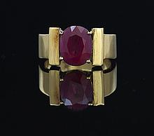 Eighteen-Karat Yellow Gold and Ruby Ring