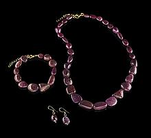 Ruby Necklace, Bracelet and Earring Set