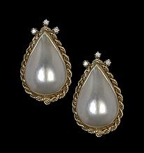 Pair of 14 Kt., Mabe Pearl and Diamond Ear Clips