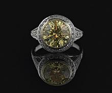 14 Kt. Gold, Yellow Cubic Zirconia & Diamond Ring