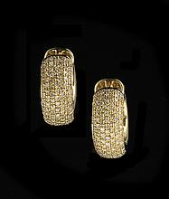 Pair of 14 Kt. Gold Pave Diamond Hoop Earrings