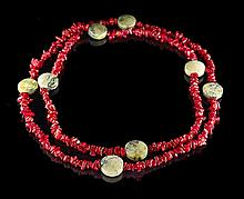 Opera-Length Red Coral and Green Jasper Necklace