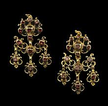 Pair of 14 Kt. Gold and Ruby Chandelier Earrings