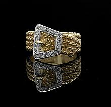 18 Kt. Yellow/White Gold and Diamond Belt Ring