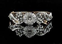 Vintage 14 Kt. and Diamond Bangle Bracelet