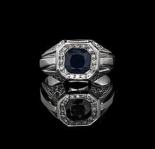 Men's 20 Kt. Gold, Sapphire and Diamond Ring
