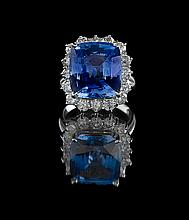 14 Kt. Gold, Natural Sapphire and Diamond Ring
