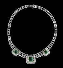 14 Kt. Gold, Emerald and Diamond Necklace
