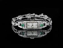 Platinum, Emerald and Diamond Gotham Wristwatch