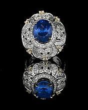 14 Kt. Gold Tanzanite and Diamond Ring