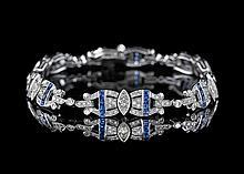 18 Kt. White Gold, Sapphire and Diamond Bracelet