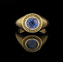 Gentleman's 18 Kt. Yellow Gold and Sapphire Ring