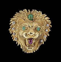 18 Kt., Diamond, Emerald and Ruby Lion Brooch