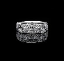 18 Kt. White Gold and Diamond Band Ring