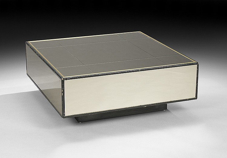 Contemporary Mirrored Glass Coffee Table