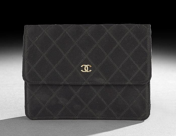 Chanel Black Diamond-Stitched Silk Satin Clutch