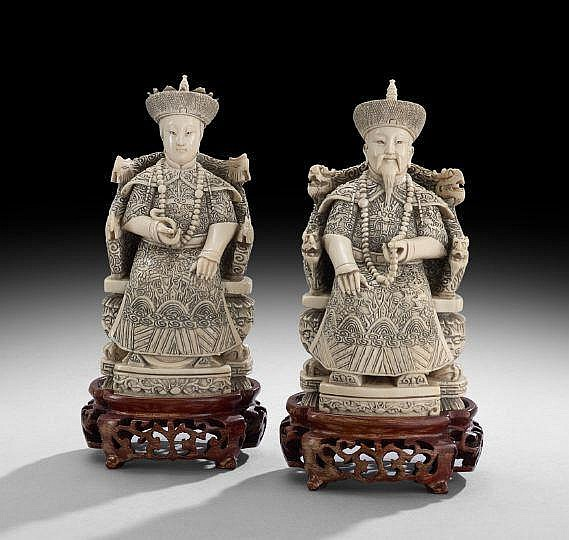 Pair of Chinese Ivory Carvings on Stands