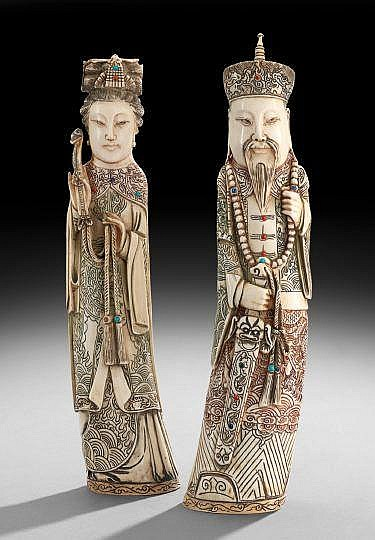 Pair of Chinese Ivory Carvings