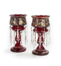 Pair of Bohemian Ruby Glass Lustres