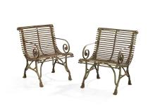 Pair of Arras Wrought Iron Garden Armchairs