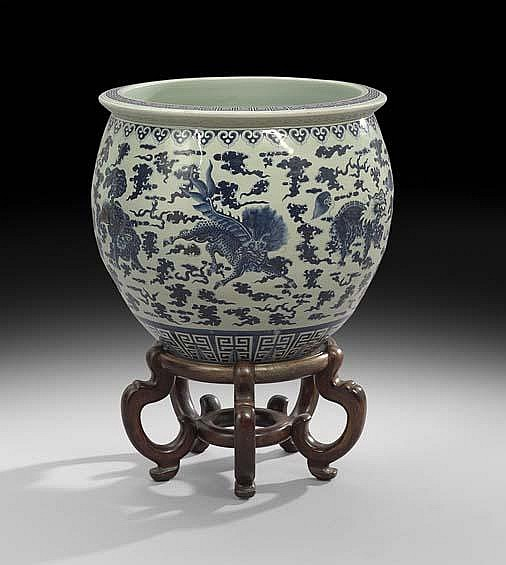 Chinese Blue-and-White Tree Tub on Stand