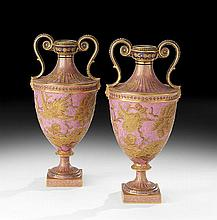 Pair of Royal Crown Derby Garniture Urns