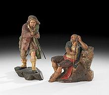 Two Polychrome-Painted Figures of Pilgrims