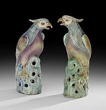 Pair of Chinese Export Porcelain Parrots