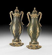 Pair of French Parcel-Gilt Bronze Garniture Urns