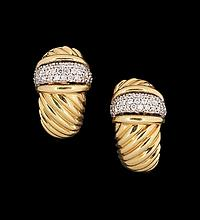 18 Kt. Gold and Diamond David Yurman Earrings