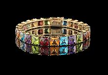 14 Kt. Gold and Multi-Colored Stone Bracelet