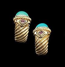 David Yurman Gold, Turquoise and Garnet Earrings