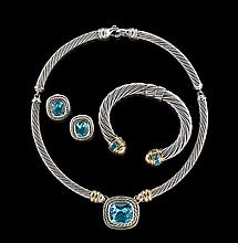 David Yurman Silver, Gold and Blue Topaz Suite