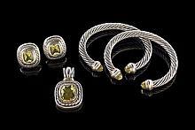 David Yurman Silver, Gold & Peridot Suite