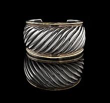 David Yurman Gold and Silver Cable Cuff Bracelet