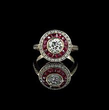 18 Kt. White/Yellow Gold, Ruby and Diamond Ring