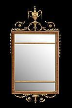 Edwardian Parcel-Gilt and Mahogany Mirror