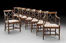 Eight George III-Style Fruitwood Dining Chairs