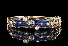 10 Kt. Gold, Enamel and Diamond Hinged Bangle