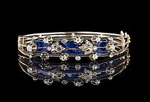 9 & 10 Kt. Gold, Enamel and Diamond Hinged Bangle