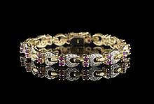 14 Kt. Yellow Gold, Diamond and Ruby Bracelet