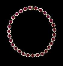 14 Kt. Yellow Gold, Ruby and Diamond Necklace
