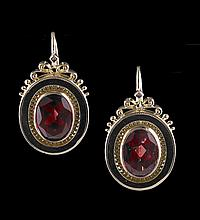 14 Kt. Rose Gold and Garnet Earrings