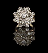 18 Kt. Yellow Gold and Diamond Cluster Ring
