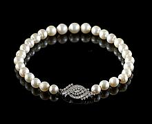 Platinum, Diamond and Baroque Pearl Necklace