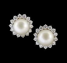 18 Kt. White Gold, Pearl and Diamond Earrings
