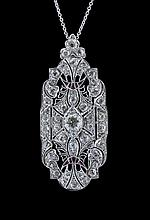 Platinum and Diamond Pendant/Brooch with Chain